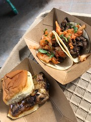 Disney California Adventure Food and WIne Festival 2018, Korean BBQ Beef Short Rib Tacos Chicken Teriyaki Slider with Spicy DOLE® Pineapple Jam