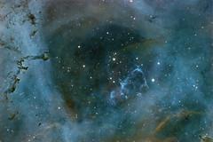 Rosette Nebula HaOIIISII Hubble Palette #Explored (Peter Goodhew) Tags: rosette nebula caldwell49 monoceros ngc2237 ngc2238 ngc2239 ngc2246 astrometrydotnet:id=nova2424870 astrometrydotnet:status=solved