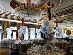 #Christenings (PartiLife) Tags: centerpieces megaloonarch christening communion pearlblue lightblue clear ballooninballoon pearlwhite goldcross
