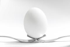 16/365- Balancing Egg (KamPhotography3) Tags: egg food forks closeup white fork stilllife canon canon750d canonphotography canonshots canon50mm bnw blackandwhite