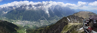 Panorama taken from Le Brévent. View Chamonix and Mont Blanc massif.