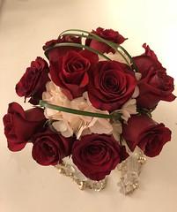 Lovely Flower Arrangement (alasam) Tags: roses flowers red white green