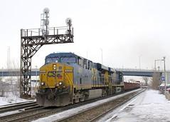 CN 327 (Michael Berry Railfan) Tags: dorval montreal quebec train winter freighttrain cn327 csx csxt gevo ge generalelectric es40dc es44dc es44ac csxt5221 csxt753