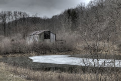 Weathered Day (david.horst.7) Tags: winter ice gray shack barn ruins decay abandoned overcast weathered