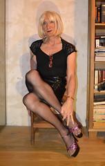 DSC_0025c (magda-liebe) Tags: crossdresser french tgirl highheels shoes mini skirt stockings platform travesti