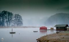 View. (augustynbatko) Tags: view lake landscape nature water fog mist tent pier sky