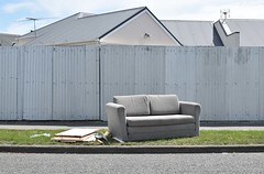 couch (stephen trinder) Tags: stephentrinder stephentrinderphotography aotearoa christchurch christchurchnewzealand kiwi landscape godzone nz newzealand thecouchesofchristchurch sofa settee dumped roadside kerb rubbish used unwanted discarded furniture seating fence fencing barrier