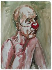 d'après clown vivant (christian angué) Tags: aquarelle clown