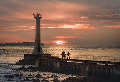 Peaceful moment (tetsuyakatayama) Tags: sunset nature landscape seascape sky cloud sea light lighthouse japan nagasaki