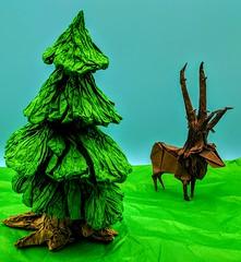Reindeer in a field (Tony Koppers) Tags: origami deer reindeer pine tree biotope kraft tissue paper