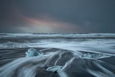 Icebergs & Trails, Jokulsarlon Beach (Sophie Carr Photography) Tags: jokulsarlon beach icebergs watertrails dawn clouds longexposure