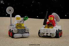 Mighty Micros: Classic-Space Rovers (Kamteey) Tags: lego moc digital digibrickz design render rendering dof space classicspace micro mighty spacemen blender blender3d b3d 3d cad minifig minifigure minifigs minifigures diorama car buggy tribute febrovery planet