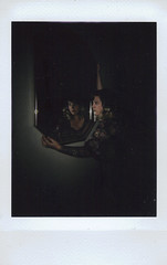 Day 097 (H o l l y.) Tags: lomography fuji film instax mini analog instant flash photographer mirror girl self portrait reflection holding retro indie vintage darkness shadow