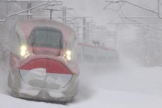 Running through blizzard