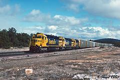 SF 5353 5850 5058 Maine, AZ 3-1994 (steveellis12) Tags: atsf santafe sd45