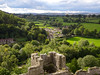 Ludlow Castle and fields and trees to the west (Dunnock_D) Tags: uk unitedkingdom britain england shropshire blue sky green grass ludlow castle stone walls tower white clouds fields woods trees