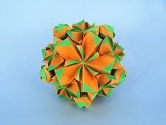Trollius (masha_losk) Tags: kusudama кусудама origamiwork origamiart foliage origami paper paperfolding modularorigami unitorigami модульноеоригами оригами бумага folded symmetry design handmade art