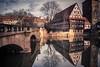 Nuremberg Mirrored (Gilderic Photography) Tags: nuremberg roadtrip bridge tree water river sky building architecture city winter travel reflection canon 500d