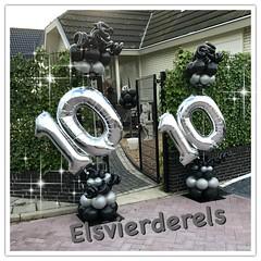ballonpilaren dubbele cijfers zwart zilver