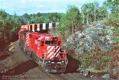 (SEE & HEAR)---CP 5407, eb, Benny, ONT. 9-18-1993 (jackdk) Tags: train railroad railway locomotive emd emdsd40 emdsd402 sd40 sd402 cp cpr canadianpacific trailertrain standardcab stacktrain doublestack seeandhear seehear canada benny bennyontario ontario shield canadianshield