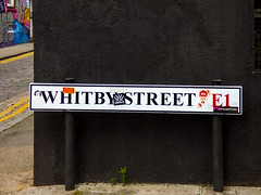 Whitby Street E1 (Steve Taylor (Photography)) Tags: whitbystreet e1 inhouseradio steadylevels thedigitalsoundoftheunderground crown about graffiti sticker sign streetart uk gb england greatbritain unitedkingdom london spitalfields