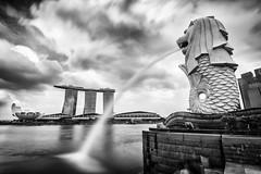 Merlion at Marina Bay (K Michael F C) Tags: singapore asia travelasia asiatravel water sky fountain longexposure monochrome blackandwhite blackwhite wideangle city cityscape architectural architecture building buildings nikon d810 ngc