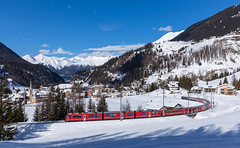 Albula-IR leaving Bergün (david_gubler) Tags: rhb allegra abe812 emu narrowgauge train railway snow red rhaetianrailways rhätischebahn 3504 mountains