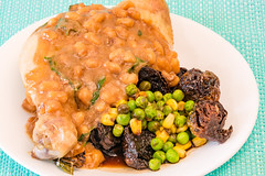 Wednesday dinner. Garlic and anchovy baked beans chicken maryland with crispy balsamic Brussels sprouts. 💚 (garydlum) Tags: anchovies belconnen bakedbeans parsley butter corn worcestershiresauce tabascosauce brusselssprouts chicken chickenmaryland canberra peas balsamicvinegar