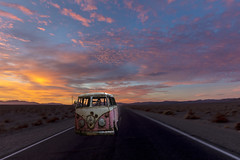 (Toy Car) On the Road Again (lycheng99) Tags: toy car toycar deathvalley deathvalleynationalpark highway dawn mountains clouds motion blur vw van road ontheroadagain