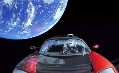 Starman on the way to Mars in a Tesla (PeterThoeny) Tags: space earth spacex tesla teslaroadster starman elonmusk sky webcast youtube photomatix hdr qualityhdr qualityhdrphotography car spacesuit fav100