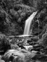Hindhope Linn (Dave Dixon LRPS) Tags: waterfall northumberland kielder forest mono monochrome water longexposure