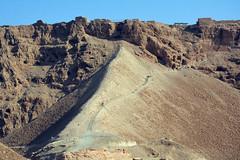 The Roman Ramp to Masada (JohntheFinn) Tags: masada israel zealot roman archaeology deadsea kuollutmeri middleeast history historia herod palace lähiitä landscape maisema outdoor hiking patikointi aavikko autiomaa erämaa desert wilderness judea
