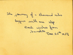 IMG_0031 MGS Autograph Book  The journey of a thousand miles begins with one step Best wishes from Sandra Dec 25th 1958 (photographer695) Tags: mgs autograph book 1953 the journey thousand miles begins with one step best wishes from sandra dec 25th 1958
