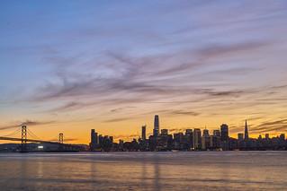Sunset over San Francisco Skyine