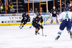 """Kansas City Mavericks vs. Florida Everblades, February 18, 2018, Silverstein Eye Centers Arena, Independence, Missouri.  Photo: © John Howe / Howe Creative Photography, all rights reserved 2018 • <a style=""""font-size:0.8em;"""" href=""""http://www.flickr.com/photos/134016632@N02/39491162585/"""" target=""""_blank"""">View on Flickr</a>"""