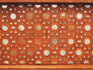 Geometric wood and mirror design of Silk Road palace ceiling, Isfahan, Iran