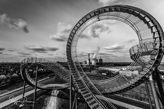 Tiger and Turtle – Magic Mountain 8 (svpe4711) Tags: deutschland landscape landschaft building construction landmark germany bw himmel steel bluesky architecture clouds tigerandturtle blackwhite sigma1224mm urban wideangle sw stairs schwarzweis staircases d750 sky magicmountain weitwinkel duisburg city