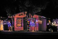 Patriotic Christmas Lights (wyojones) Tags: hawai'ivolcanoesnationalpark hawaii christmaslights decorations cabins historic kilaueamilitarycamp kmc restcamp japaneseinternmentcamp prisonerofwarcamp worldwarii resort hotel camp solider flag christmas wyojones np