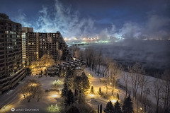Winter fog on a extreme cold night (Louis Geoffroy) Tags: winter hiver building snow neige night nuit mist brume cold froid extreme