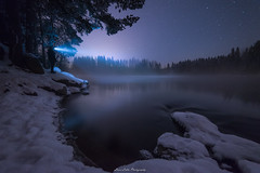 Selfie. (laurilehtophotography) Tags: kapeenkoski talvi2018 suomi finland landscape nightscape night snow ice water stream river stars forest trees nature longexposure selfie wideangle nikon d610 samyang 14mm amazing europe light scene