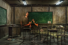 Self-Portrait With Ethan And Dad (Stuck in Customs) Tags: tokyo japan sony a7riii treyratcliff stuckincustoms stuckincustomscom ethan hdr hdrtutorial hdrphotography hdrphoto aurorahdr school class art board chalk chair desk classroom reflection selfie people