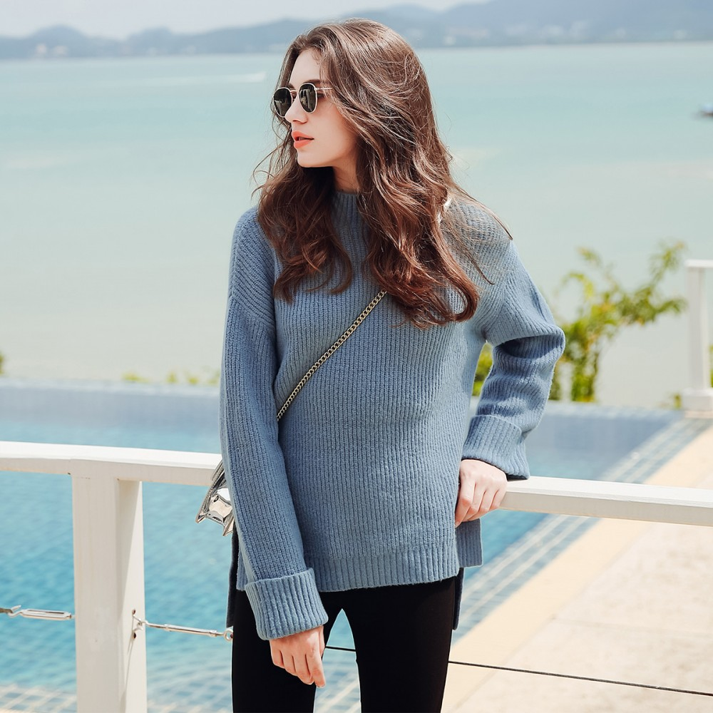 Long sleeved sweater in spring and autumn winter 2017 new female Korean all-match loose thin half turtleneck turtleneck jacket
