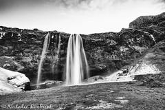 Seljalandsfoss, Iceland (ambeizzi) Tags: iceland january south shore adventure reykjavic excursions monochrome black white waterfall rocks mountain seljalandsfoss