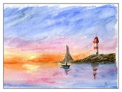 phare et voilier (ybipbip) Tags: aquarelle aquarell akvarell watercolor watercolour paint painting pintura paysage landscape