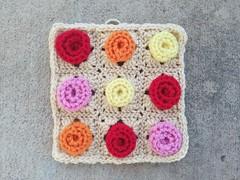 Crochet rose granny square (crochetbug13) Tags: crochet crocheted crocheting crochetbug crochetflowers crochetroses crochethearts grannysquares graphicgrannysquares texturedgrannysquares