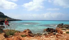Son Bou Beach (W@nderluster) Tags: minorca blu beach sea summer spain baleari exploring reef sauvage wild water coast cloudy españa vacation