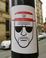 Heisenberg, Manchester, UK (Robby Virus) Tags: manchester england uk unitedkingdom britain greatbritain sticker art slap pole bad tv television drug meth hat sunglasses breaking heisenberg walter white