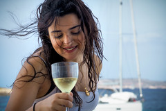 Breeze (Мaistora) Tags: girl boat glass drink hair breeze wind bubbly fun mood party life lifestyle lady female sea mediterranean sunshine feelgood youth motion movement moment cinematic sony alpha ilce sel90m28g lightroom