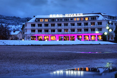Night lights (denismartin) Tags: denismartin vosges france vogesen mountains vosgesmountain hotel beaurivage pink blue reflection reflet snow winter water weather nightphotography night light lorraine resort
