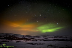 Orange & Lime (Gavmonster) Tags: gswphotography nikon d7500 nikond7500 northernlights auroraborealis lakemyvatn iceland longexposure 30seconds orange green lime land stars sky